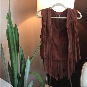 Topshop leather fringe vest